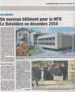 023-Article 1ere pierre Dauphiné Libéré-MFR Le Belvédère Sallanches Tema Architectes