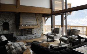 20-Salon cheminée Maison forte rénovée Passy Tema Architectes
