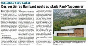07-Article Le Dauphiné octobre 2015 Vestiaires Collonges-sous-Salève-Tema Architectes