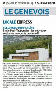 08-Article Le Dauphiné octobre 2015 Vestiaires Collonges-sous-Salève-Tema Architectes